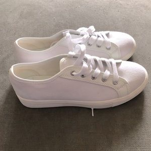 LOFT white lace up sneakers